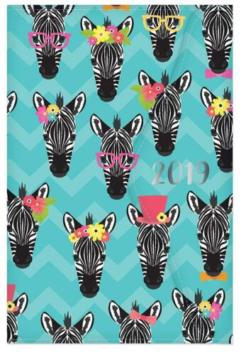 Toucan 2019 Diary A6 Ladies Family Organiser Diary /& Pen Zebra Magnetic Clip