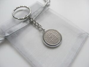 George-VI-Lucky-Charm-Sixpence-Keyring-With-Gift-Bag-1947-To-1951-Choose-Date