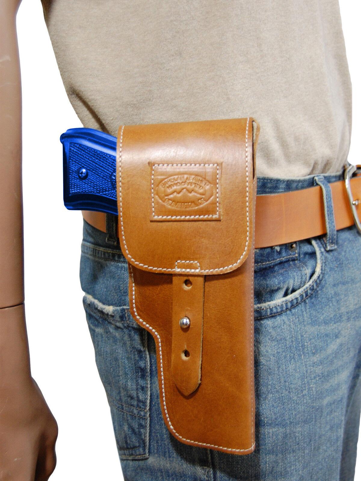 Nuevo barsony Bronceado Solapa De Cuero Funda Pistola marróning Para Colt de tamaño completo de 9 mm 40 45