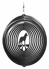 SWEN Products SIBERIAN HUSKY Dog Circle BLACK Swirly COMBO Metal Wind Spinner