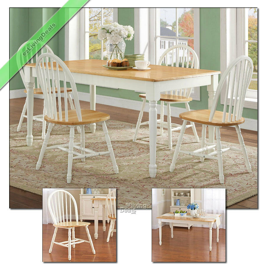 Details about Farmhouse Dining Room Set 5 Pc Table 4 Chairs Wood Country  Kitchen, White & Oak