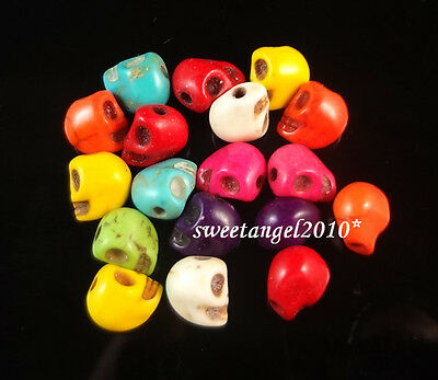 50/100 Mixed turquoise Skull charm loose beads jewelry Design Finding 8x6mm
