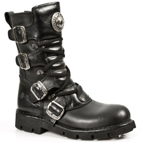NEWROCK New Rock M.1473 S1 Black Unisex Style Real Leather Biker Goth Rock Boots