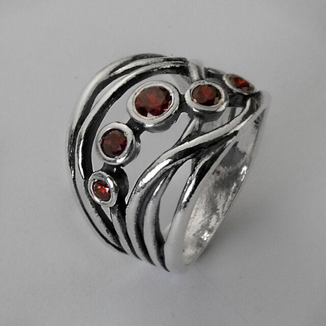 R01334GZ SHABLOOL ISRAEL Didae Garnet CZ Sterling Silver 925 Ring Sz. 6 7 8 9