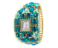 Womens Bangle Watch MARYSOL Jeweled Teal Gold Floral Cuff Analog Spring Closure
