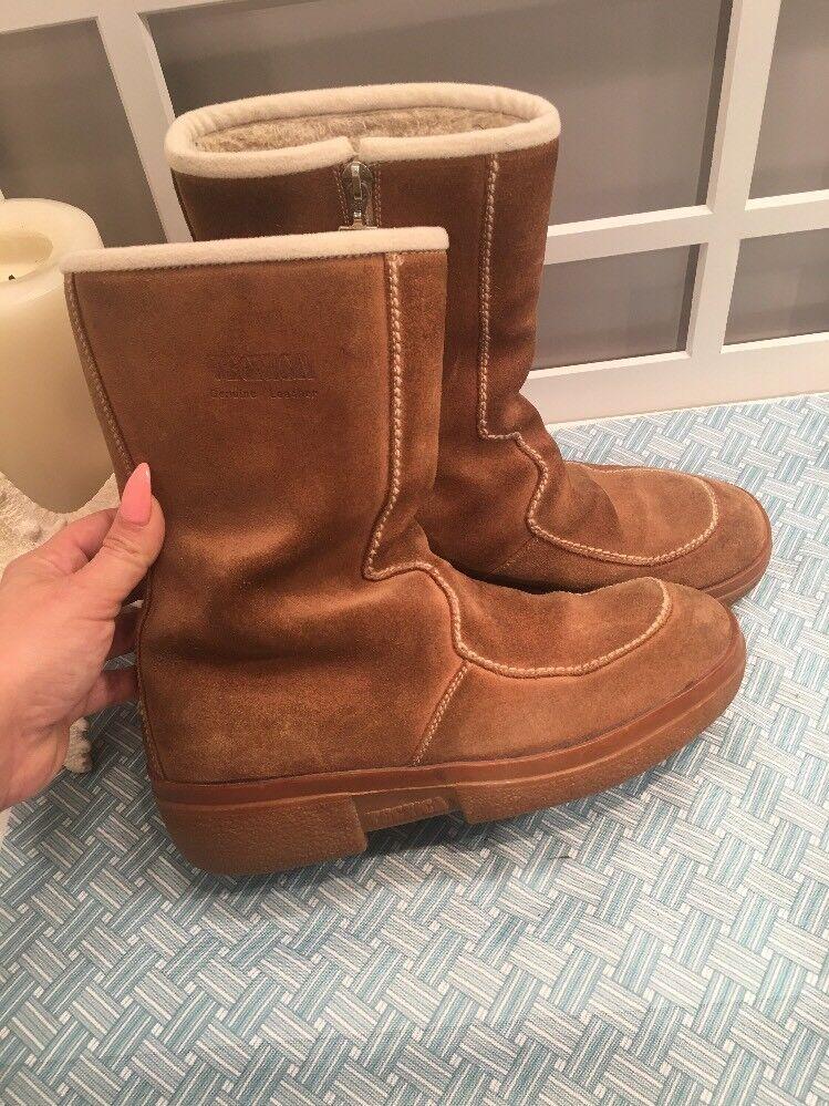Tecnica Tan Moc Fur Round Toe Mid Calf Boot Size 40 41
