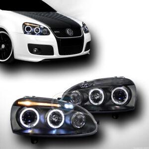 Volkswagen 06-09 GTI //Jetta //Rabbit Black DRL LED Projector Headlights Lamps