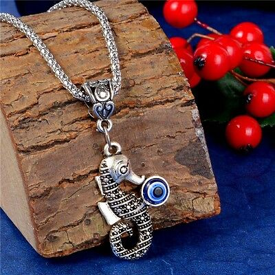 925 Silver Turkish Evil Eye Glass Necklace Cute Animal Pendant Sweater Chain