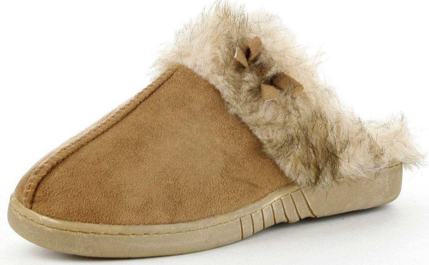Nina Women Faux Fur Suede Warm Cozy Flat Slip On Slide Scuff Flat Cozy Slippers Shoes CML 7df62d