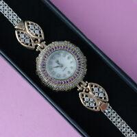 Beautiful Wristwatch 925 Silver & Bronze With Topaz Amethyst 27 Gr. 71\2 Long