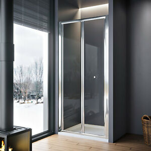 Framed Bifold Shower Enclosure Glass Screen Door And Stone Tray Walk in Wet Room