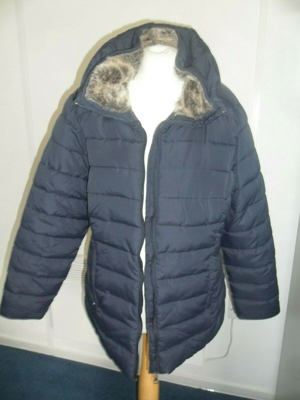Ladies Long Raincoat Quilted Blue with Faux Fur BNWT Sizes 16 & 18 by Autonomy