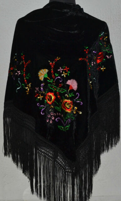 "Spanish flamenco VELVET black triangular shawl c/w floral embroidery 66"" x 39"""
