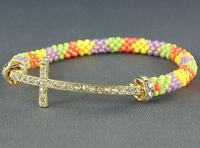 Arm Candy Sideways Cross Rhinestone Bracelet With Beaded Candy Colors
