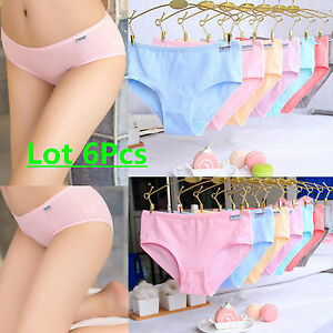 0f552f361bd5 Image is loading Lot-Women-Girls-Comfortable-Cotton-Mixed-Panties-Solid-