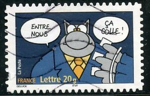 TIMBRE-FRANCE-AUTOADHESIF-OBLITERE-N-65-SOURIRES-LE-CHAT-PHILIPPE-GELUCK