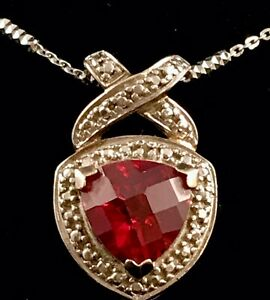 Vintage-Sterling-Silver-Marcasite-Ruby-Heart-Love-Pendant-Necklace-Italian-Chain