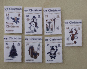 2016-ALDERNEY-CHRISTMAS-WHITE-CHRISTMAS-SET-OF-7-MINT-STAMPS