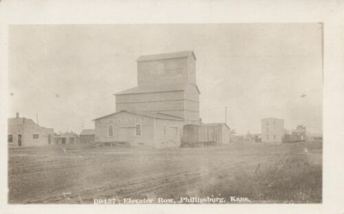 POSTCARD PHOTO OF GRAIN ELEVATOR PHILLIPSBURG, KANSAS