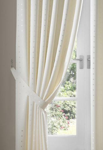 Cream Eyelet Curtains Madison including Tie Backs free p/&p