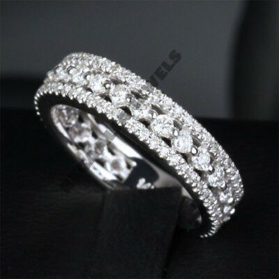 Fine Rings Have An Inquiring Mind 14k New Women White Gold Over Round Cut Diamond Ring Wedding Band 1.5 Ct Easy To Use