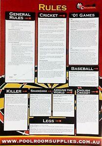 Dart Board Darts General Rule Chart Mounting Instructions Cricket