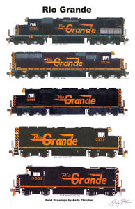 Rio-Grande-Speed-Letter-Locomotives-11-034-x17-034-Railroad-Poster-Andy-Fletcher-signed