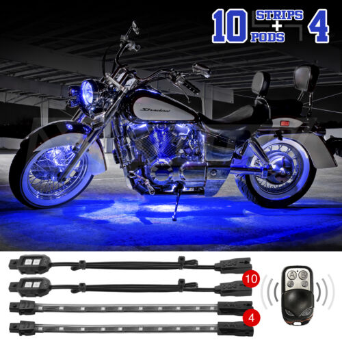 2ND GEN 14PC REMOTE CONTROL UNDER BODY MOTORCYCLE CAR ATV ACCENT LIGHTING BLUE