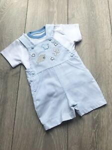 95695f492 Pex baby boy spanish style ocean dungaree outfit blue and white | eBay