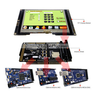 """Serial SPI 4.3""""inch TFT LCD Touch Shield for Arduino Due,MEGA 2560,Uno w/Library"""