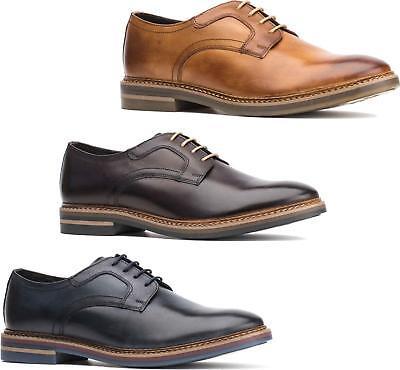 Base London SPENCER Mens Burnished Leather Plain Smart Office Derby Shoes Tan