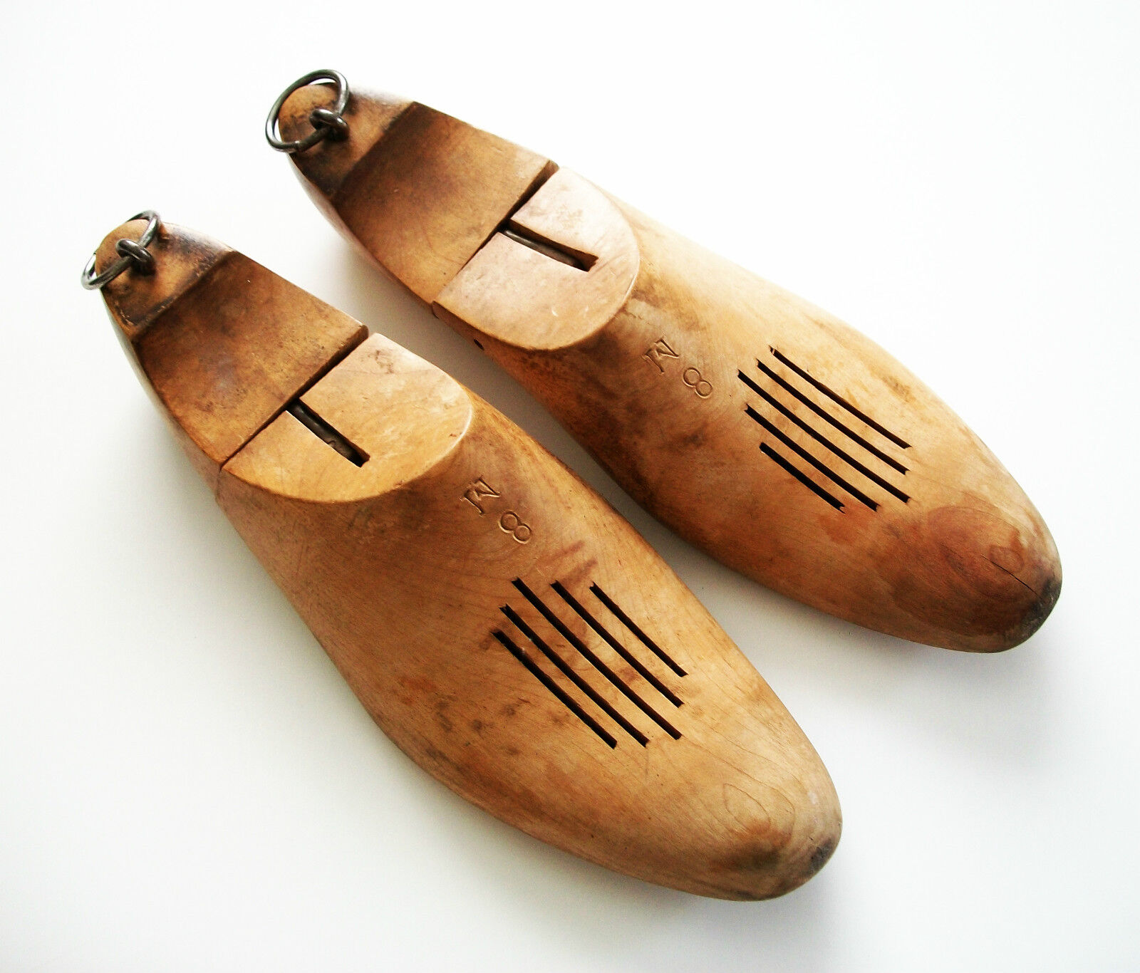 Antique Wood Shoe Trees with Steel Rings & Vents - Size 8 M - Early 20th Century