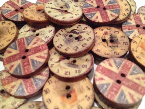 10 UNUSUAL UNION JACK AND BIRD//CLOCK DESIGN BUTTONS SEWING CRAFT SCRAP BOOKING