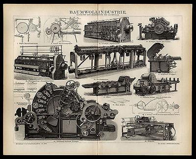 2019 Mode Original Holzstich 1882 Div. Maschinen Textilindustrie Grobfleyer Wetermaschine