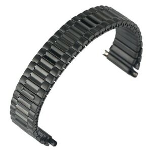 Elastic Watch Band 16MM-22MM Black Stretch Stainless Steel Bracelet Strap