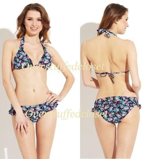 NWT Jessica Simpson Triangle Halter Top Floral Bikini MEDIUM
