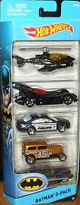 2015 Hot Wheels BATMAN 5-Pack Die-Cast Cars Set BATCOPTER, BATMOBILE, Gotham PD+