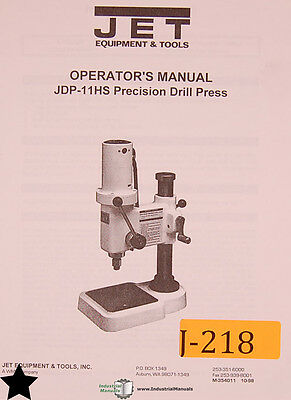 Jet JDP-11HS, Precision Drill Press, Operators Manual | eBay