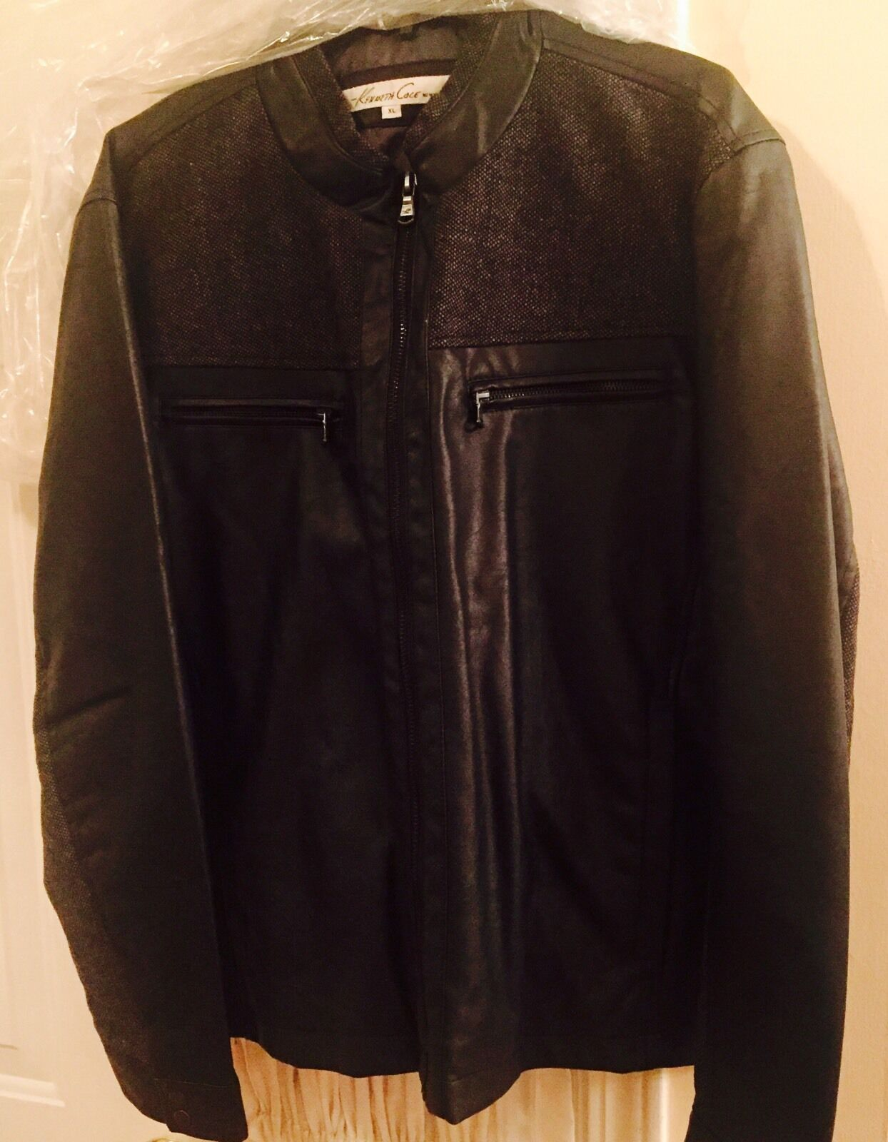 Kenneth Cole New York Mixed Media Faux Leather And Quilted Nylon Bomber
