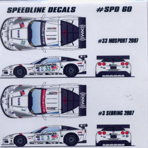 Speedline Decals Corvette C6R Fellows White car//tamiya