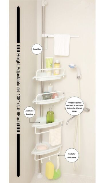 Allzone Constant Tension Corner Shower Caddy Stainless Steel Brushed ...