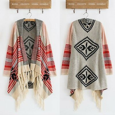 Women Ethnic Striped Knitted Cardigan Boho Gypsy Fringe Sweater Cape Outwear Top