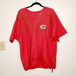 Rawlings-Reds-baseball-Nylon-Warm-Up-Batting-Practice-Shirt-M