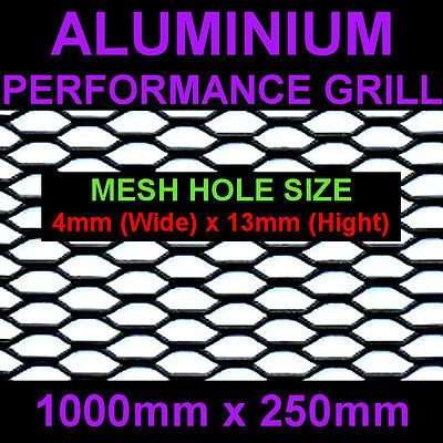 VAUXHALL LAND ROVER JEEP LOTUS ALUMINIUM BLACK NET GRILL 25x100cm Mesh 4x13mm