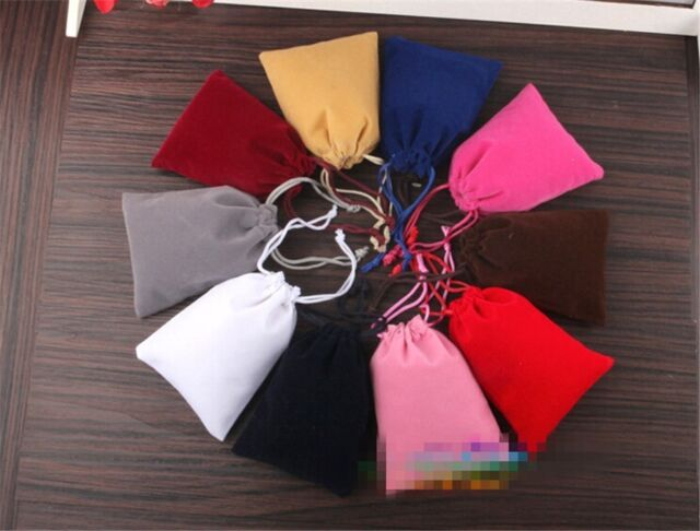 10pcs/lot Handcraft Fabric Solid Small Storage Drawstring Bags Jewelry Bag Gift