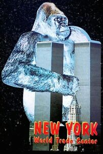 World-Trade-Center-Vintage-Pre-9-11-2001-Postcard-King-Kong-Twin-Towers-5x8-COA