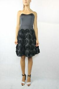 REVIEW-Black-Strapless-Floral-Skirt-Dress-Size-10
