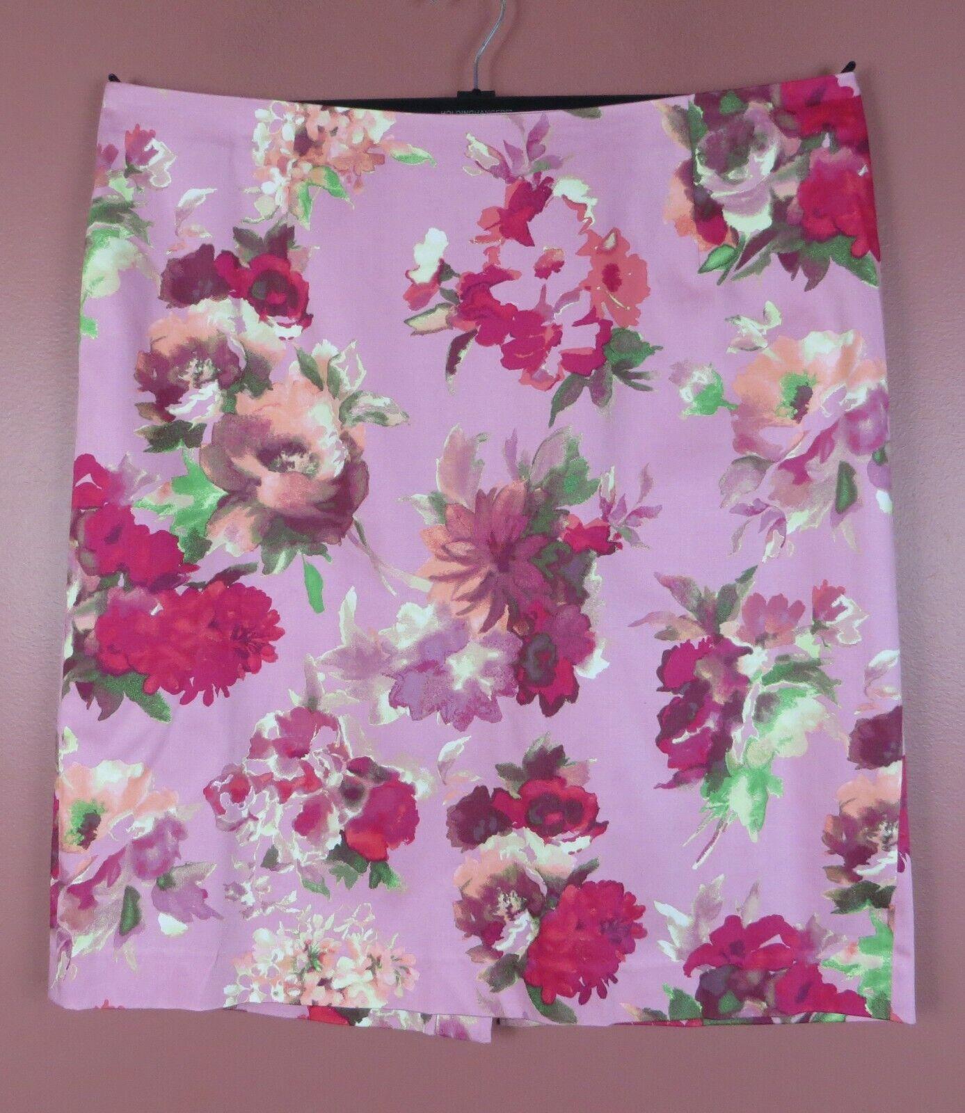 SK14086- NEW TALBOTS Womens 97% Cotton Pencil Skirt Multi-color Floral Sz 18W