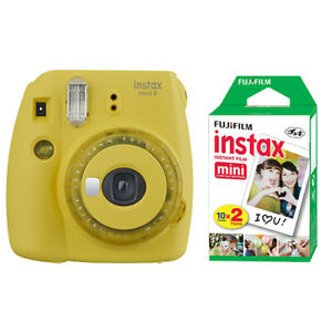 Fujifilm Instax Mini 9 Instant Film Camera Clear Yellow + 20 Sheets Instant Film