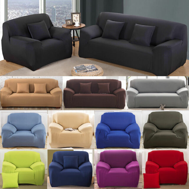 2//3//4 Seater Sofa Cover Stretch Elastic Slipcovers Couch Loveseat Solid Color US